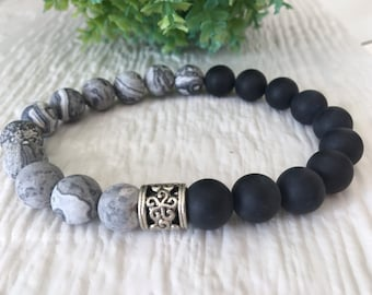 Gift for Young Dad, Matte Onyx 10mm, Large Wrist Onyx, Birthday Black Gift, Frosted Jasper 10mm, Strong Men Wrist, Gems Boho Chic Onyx 10mm