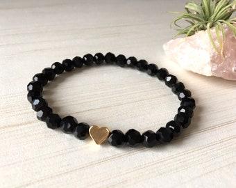 Tiny Crystal Bracelet, Little Heart Filled 14k, Delicat Gems, Lovers Gift, Black Faceted Beads, Minimalist Heart, Dainty Bracelet, Stretch