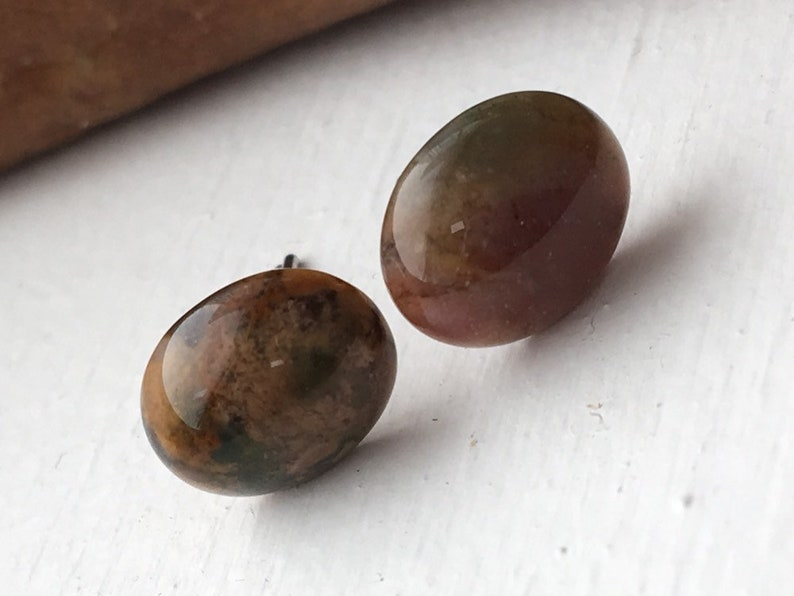 Indian Agate Earring Gemstone Green Natural Small Earring image 0