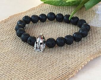Spartan Bracelet, Star Wars Bracelet, Father Day Young Gift, Dad Bracelet, Men Heros Bracelet, Lava Gemstones 10, Strong Men Gift, Star Wars