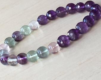 Gift for Mom Friends, Sphere Fluorite, Healing Bracelet, Amethyst Jewelry, Bohemian Meditation, Fluorite Bracelet, Purple Gemstone, Rainbow