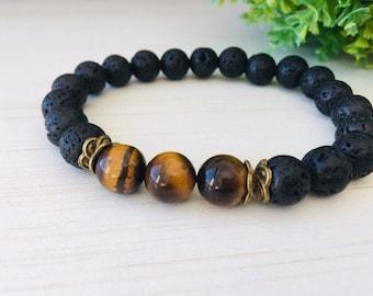 Tiger Eye 10mm, Large Wrist Black, Brother's Gift, Meditation Mens Yoga, Lava Gemstone 10mm, Large Mens Jewelry, Tiger Eye Bracelet Chic