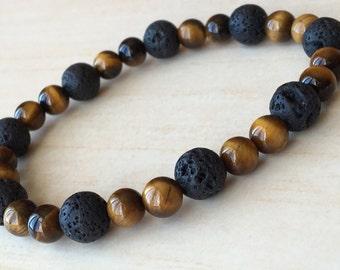 Stone of Rooting Bracelet, Concentration Gems, Tiger Eye Jewelry, Lava Stone Yoga Gift,Mens Friendship Gift, Tiger Eye Minimalist,Black Gift