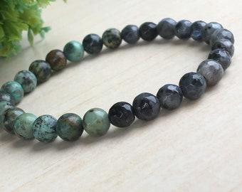 Bracelet Gift Mens,Under 25 Gift,Labradorite Gems 6mm,Turquoise Beads 6mm,Three Style Jewelry,Bohemian Bracelet,African Turquoise Bracelet