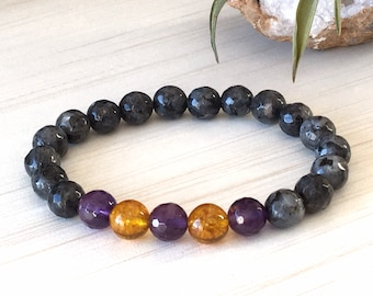 Prosperity Bracelet, Abundance Bracelet, Serenity Gemstones, Labradorite Bracelet, Citrine Jewelry 8mm, Business Bracelet, Gift for Friends