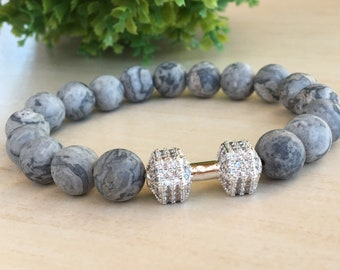 Crossfit Bracelet, Dumbbell Jewelry, Young Father Gift, Frosted Jasper 10mm, Harmony Gemstone, Grey Gym Bracelet, Large Wrist Men  Strong