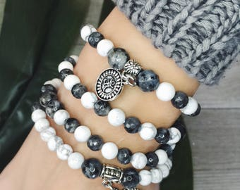 Mala 108 Howlite Zen, Mothers Mala Gift , Labradorite Necklace, Mala Meditation 108, Yoga Gift Mala, Tree of life Mala, Protection Japa Mala