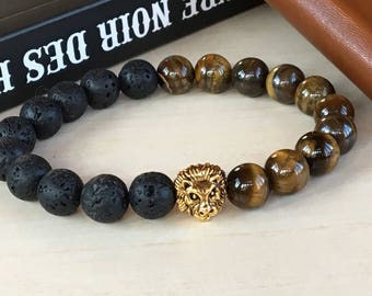 Men Lava Stone 10mm, Brothers Gift, Strong Men Jewelry, Lion King Bracelet, Tiger Eye Beads 10mm, Man Health Relieve, Protection Lion Leo