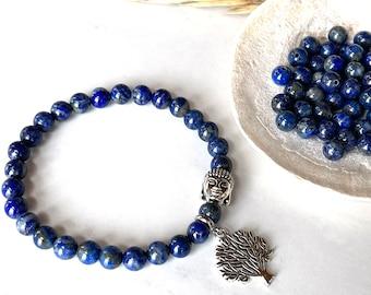 Blue Lapis Lazuli Bracelet, Buddha Bracelet 6mm, Yoga Gift for Teacher, Men Bracelet, Tree of Life, Chakra Gemstones, Mom Gift Christmas