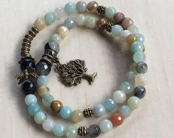 Amazonite Colorful, 108 Mala Bracelet, Mothers Day Gift, Small Angel Mala, Jewelry Amazonite 54, Bronze Tree of Life, Meditation Spiritual