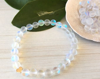 Small Heart 14k,Mystic Quartz, Gift for Mom, White Gems, Birthday Beads, Wedding Girl, Plated 14k Bracelet, Chic Minimalist, Lovers Friend