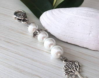 White Angel Jewelry, Mom Pearls, Gift for Sister, Tree of Life Courage, Guardian Angel, Lucky Angel Pendant, Charm Angel, Keychain Wing Hat