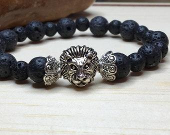 Dragon Veins Lava, Birthday Dad Gift, Dad Lion Bracelet, Black Lava Bracelet, Lion King Jewelry, Gift for Him, Lion Head King, Leo Symbole