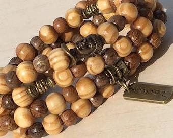 Basic Mala Buddha, 108 Mala Beads Natural, Mala Namaste 108, Healing Wood Brown, Prayer Necklace Mala, Eco Yoga Charm, Buddhist Mala Yoga