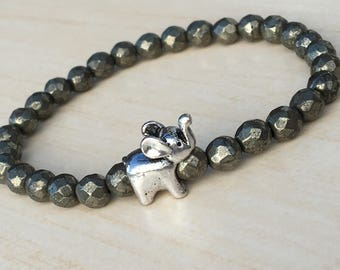Elephant Gifts,Energy Jewelry,Buddhist Bracelet,Pyrite Elephant Zen,Birthday Gift Mens,Antique Elephant,Positivity Bracelet Minimalist Zen