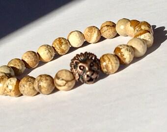 Lion Mens Bracelet, Natural Jasper 8mm, Father's Day Gift, Gemstone Leo Lion, Gift for Dad, Mens Jasper Beads, Lion King Leo Gift, Harmony