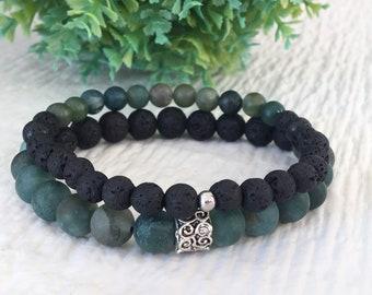Green Bracelet, Men Bracelet, Agate Moss Bracelet, Lava Rock Bracelet, Gift for Men, Set Bracelets for Men, Gift for Brothers Unisex Jewelry