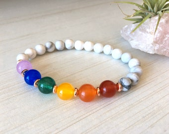 Rainbow Stud, Gift for Nurse, Ça Va Bien Aller, Health Bracelet, Jade Bracelet, Howlite Jewelry, Rose Gold Charm, Courage Gift, Gemstones