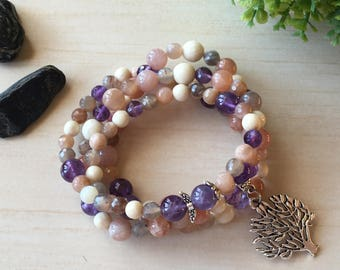 Mala Moonstone 108, Mother's Day Gift, Purple Small Angel, Tree of Life Meditation, Wood Petrification, Amethyst Mala 108, Buddhist Prayers