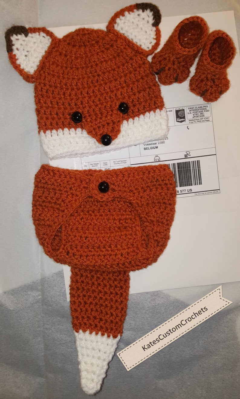 e2682747e Crochet Newborn Fox Outfit Baby Girl or Boy Woodland Costume | Etsy