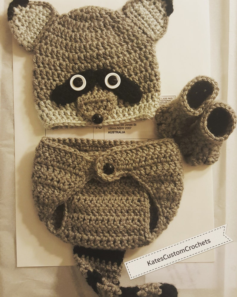 040be68aa Crochet Newborn Raccoon Outfit Woodland Photo Prop Costume | Etsy