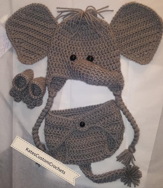 Crochet recién nacido elefante Outfit niña o un Safari Traje   Etsy