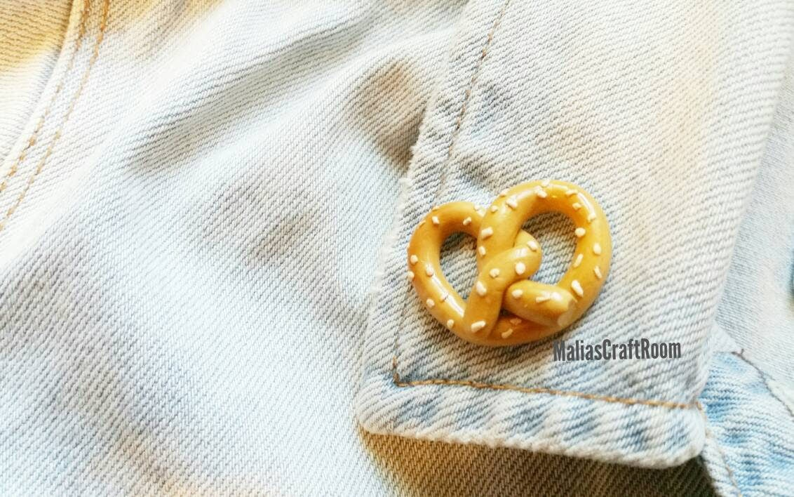 Pretzel Brooch Pin Tumblr Pin Polymer Clay Pretzel Pin
