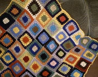 Colorful patchwork crochet blanket