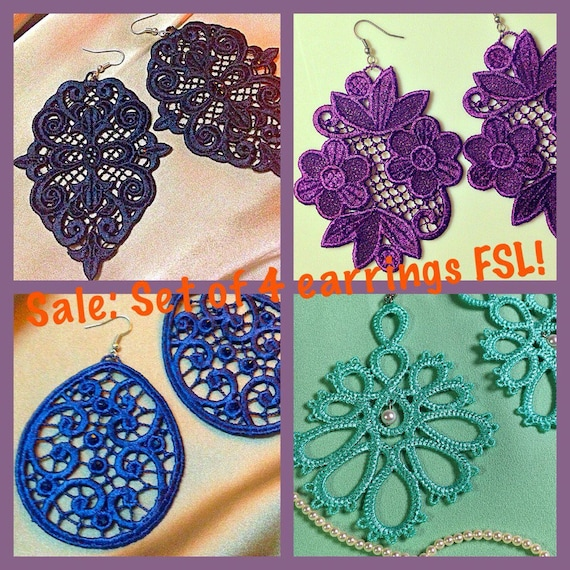Free Standing Lace Machine Embroidery Design Set Earrings Fsl Etsy