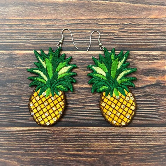3628099fb84202 FSL Pineapple earrings and brooch machine embroidery design | Etsy