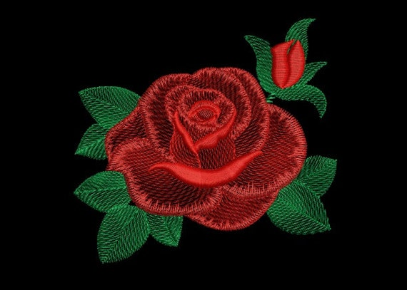 Machine Embroidery Design Red Rose Flower Natural