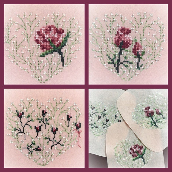 Machine Embroidery Design Rose Set Cross Stitch French Knot Etsy
