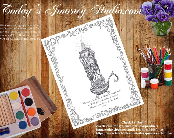 "ZENTANGLE® Inspired Coloring pages Printable Coloring Page for Adults and Children, Art Nouveau ~ ""Buddha's Candle"""