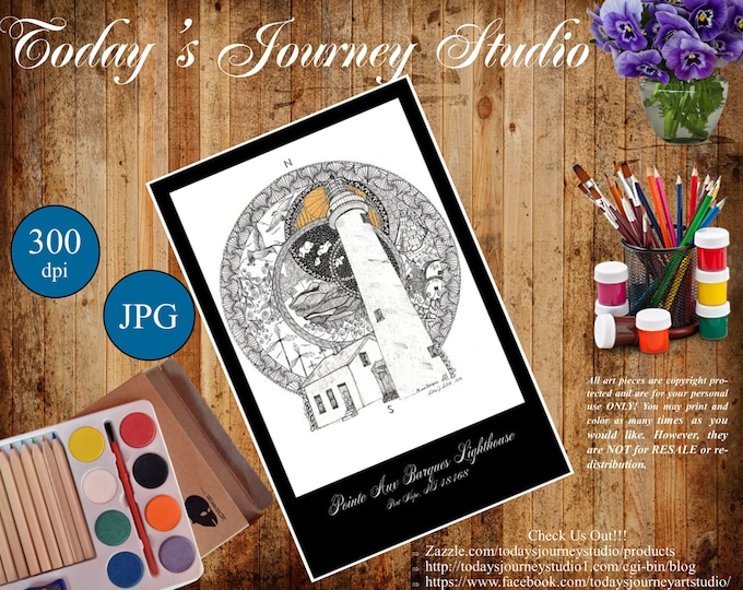 "ZENTANGLE®Inspired Coloring pages Printable Coloring Page for Adults and Children, Art Nouveau Pte Aux Barques Lighthouse - Poster 11"" x 17"""