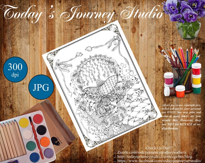 """ZENTANGLE® Inspired Coloring pages Printable Coloring Page for Adults and Children, Art Nouveau - """"Rose Bud!"""""""