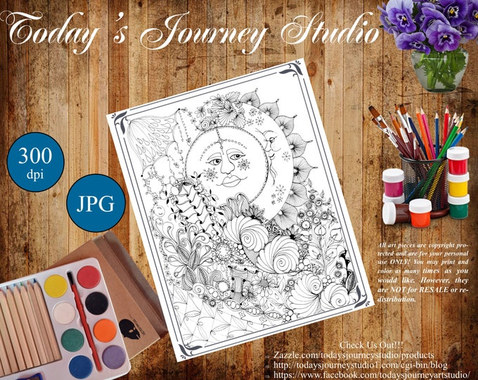 "ZENTANGLE® Inspired Coloring pages Printable Coloring Page for Adults and Children, Art Nouveau - ""Man In The Moon!"""