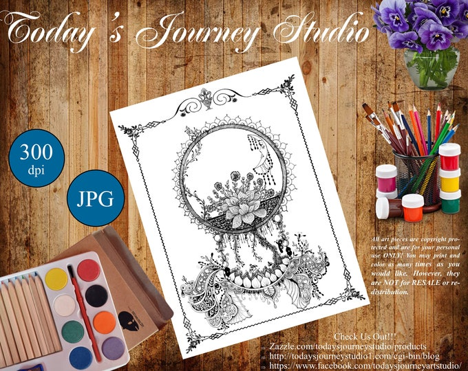"ZENTANGLE® Inspired Coloring pages Printable Coloring Page for Adults and Children, Art Nouveau - ""Midnight Blooms"""