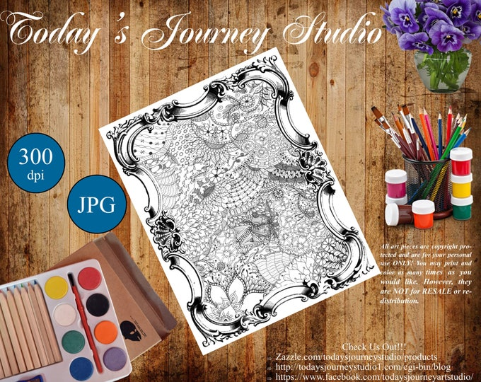 "ZENTANGLE® Inspired Coloring pages Printable Coloring Page for Adults and Children, Art Nouveau ""Mother's Garden"""