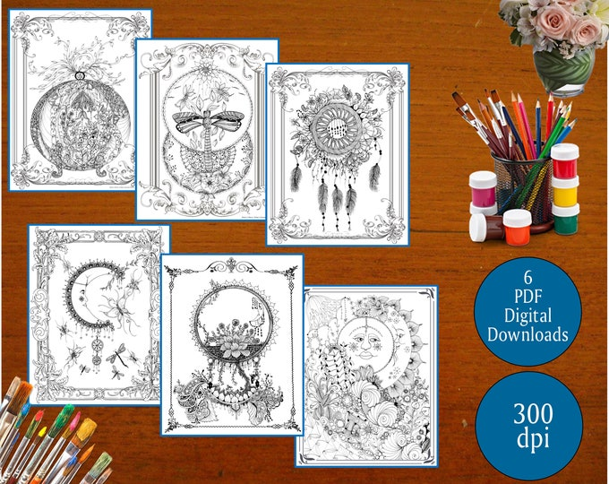 6 ZENTANGLE® Inspired Coloring pages Printable Coloring Page for Adults and Children, Art Nouveau  Combo (1st Edition)