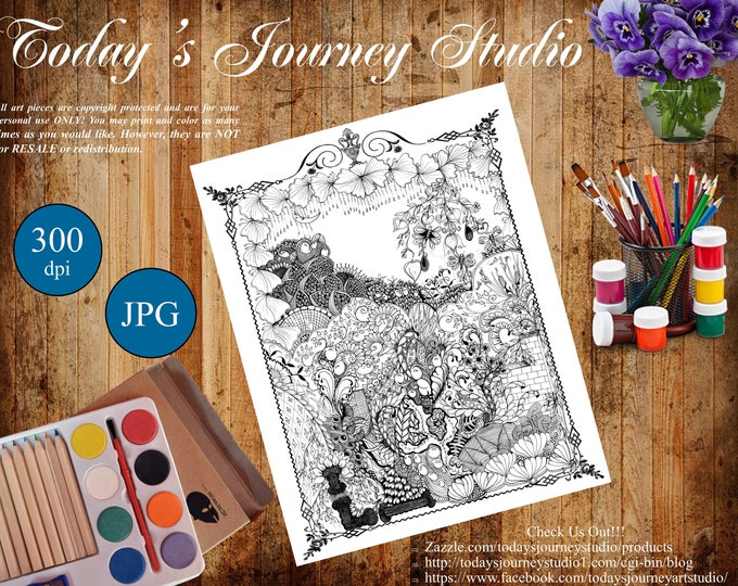 """ZENTANGLE® Inspired Coloring pages Printable Coloring Page for Adults and Children, Art Nouveau """"Chandelier of Flowers"""""""