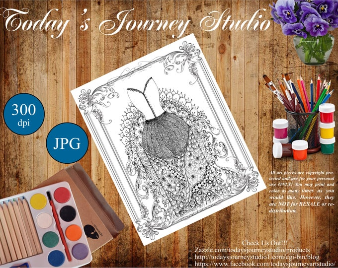 "ZENTANGLE® Inspired Coloring pages Printable Coloring Page for Adults and Children, Art Nouveau  ""Victorian Dress Up!"""