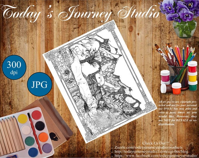 "ZENTANGLE® Inspired Coloring pages Printable Coloring Page for Adults and Children, Art Nouveau ""Moose in Vail!"""