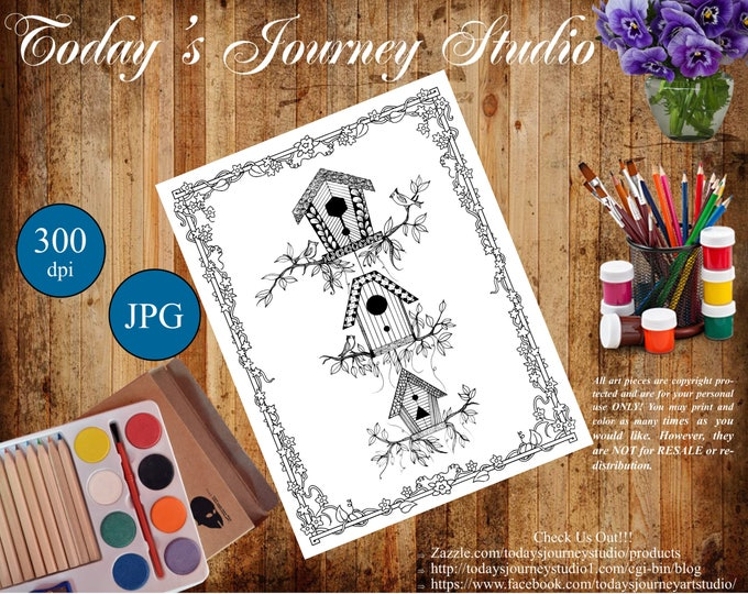 "ZENTANGLE® Inspired Coloring pages Printable Coloring Page for Adults and Children, Art Nouveau  ~ ""Birdhouses"""
