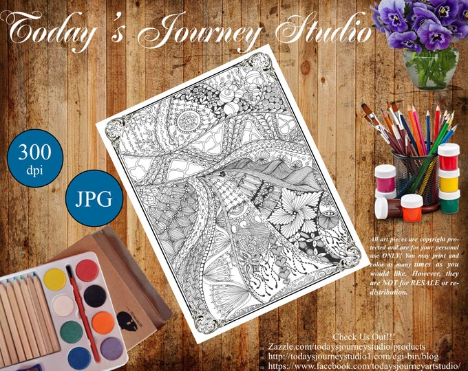 "ZENTANGLE® Inspired Coloring pages Printable Coloring Page for Adults and Children, Art Nouveau  - ""Follow the Brick Road"""