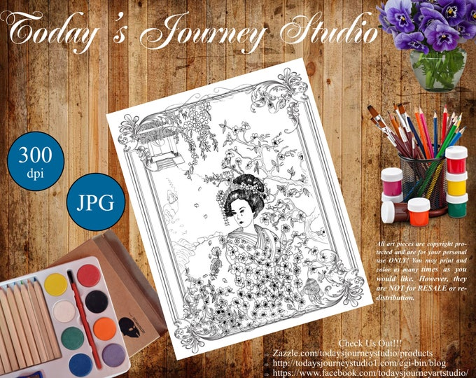 """ZENTANGLE® Inspired Coloring pages Printable Coloring Page for Adults and Children, Art Nouveau - """"Sadness in Silence!"""""""
