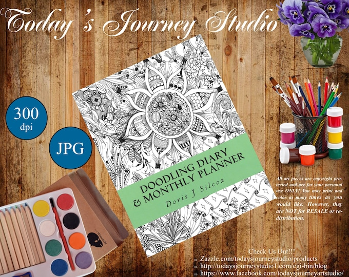 "ZENTANGLE® Inspired Coloring pages Printable Coloring Page for Adults and Children, Art Nouveau ~ ""Doodling Diary & Monthly Planner!"""