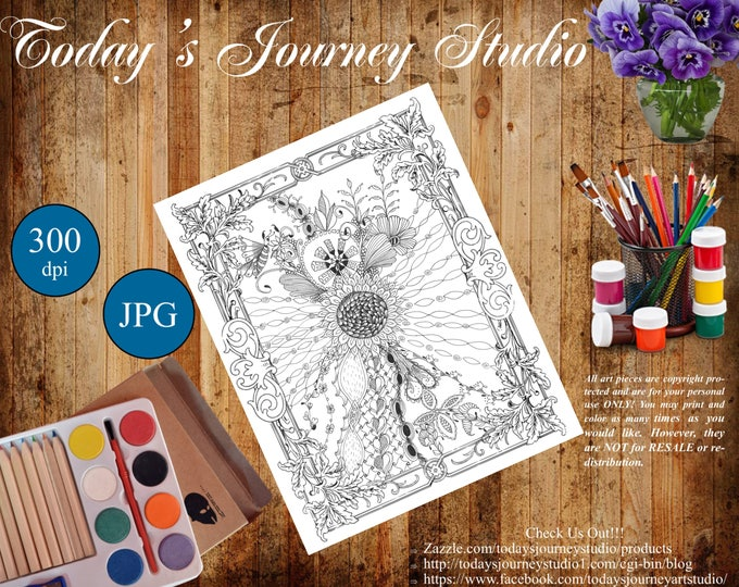 "ZENTANGLE® Inspired Coloring pages Printable Coloring Page for Adults and Children, Art Nouveau - ""Love of Sunflowers"""