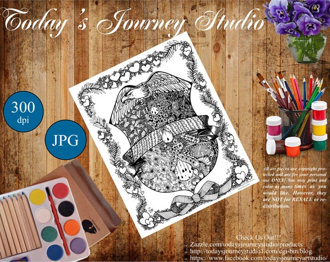 """ZENTANGLE® Inspired Coloring pages Printable Coloring Page for Adults and Children, Art Nouvea:Blue Lives Matter!"""""""
