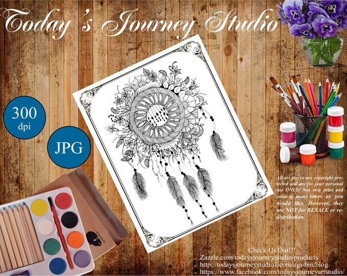 "ZENTANGLE® Inspired Coloring pages Printable Coloring Page for Adults and Children, Art Nouveau  - ""Dreamcatcher 2!"""
