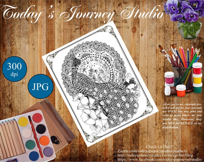 "ZENTANGLE® Inspired Coloring pages Printable Coloring Page for Adults and Children, Art Nouveau ""Pretty Peacock"""